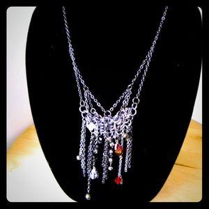 Rocker chainmail Swarovski necklace
